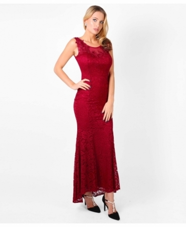 Embroidered Lace Fishtail Maxi Dress