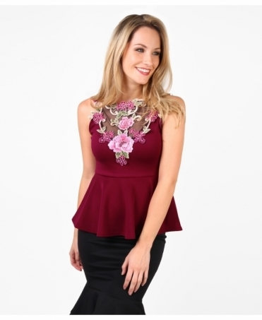 Embroidered Mesh Front Peplum Top