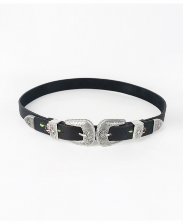 Embroidered Thin Double Buckle Belt