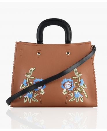 Embroidered Top Handle PU Bag