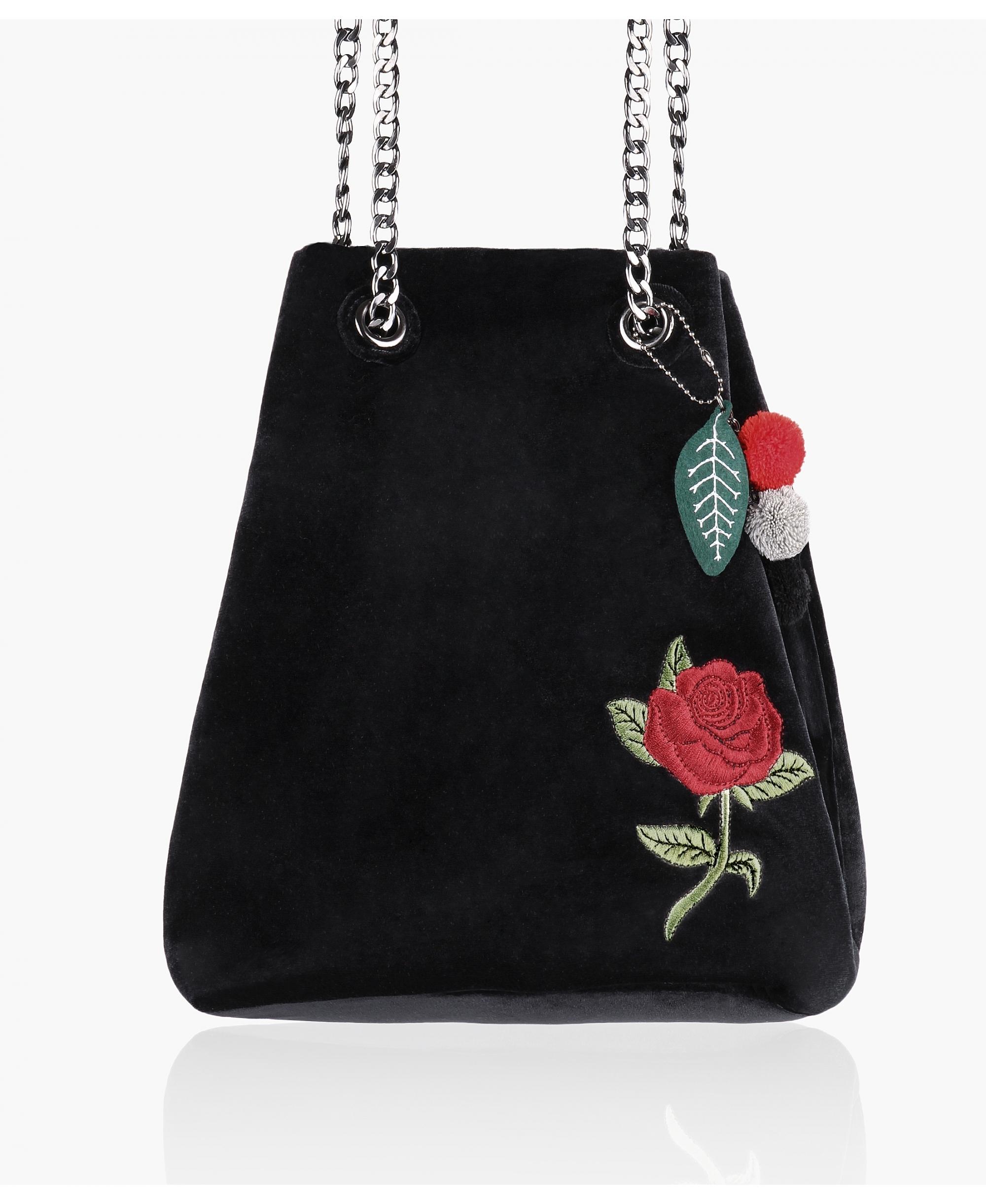KRISP Embroidered Velvet Bucket Bag