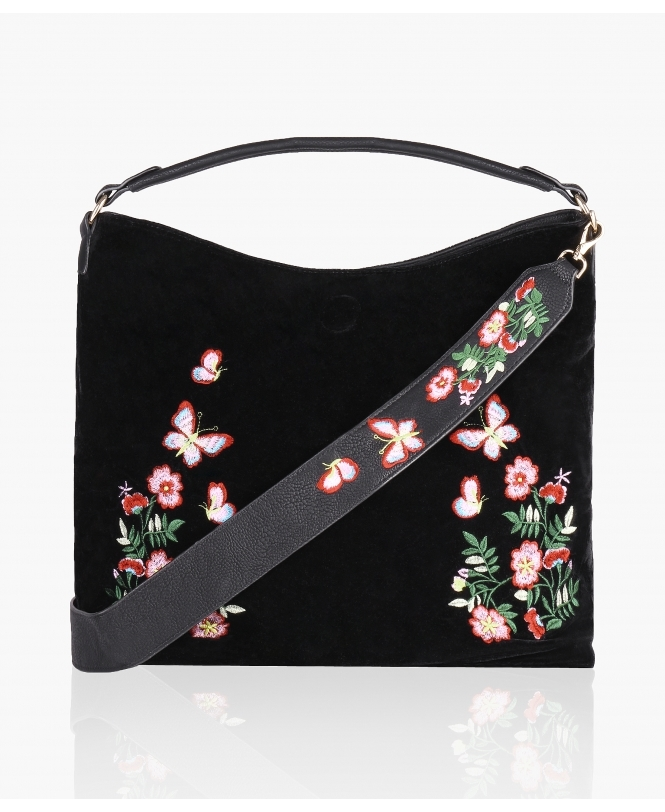 KRISP Embroidered Velvet/PU Reversible Shopper Bag