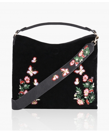 Embroidered Velvet/PU Reversible Shopper Bag