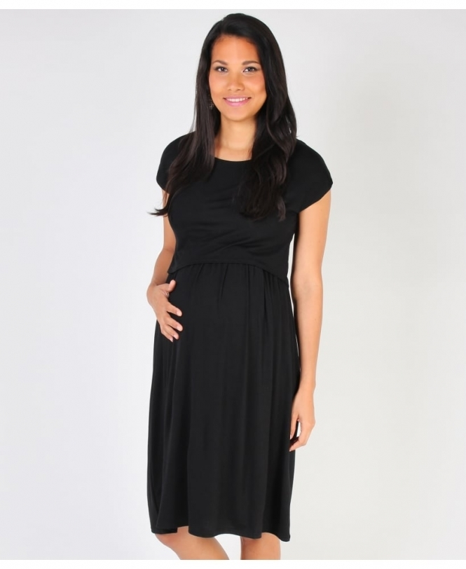 KRISP Empire Line Overlay Black Dress