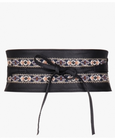 Ethnic Embroidered PU Obi Belt