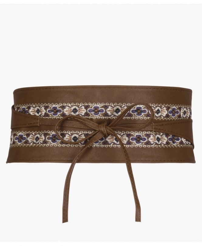 KRISP Ethnic Embroidered PU Obi Belt