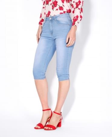 Faded Denim Cropped Jeans