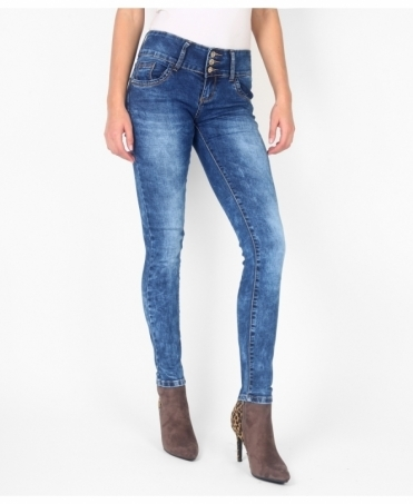 Faded Leg 3 Button Skinny Jeans