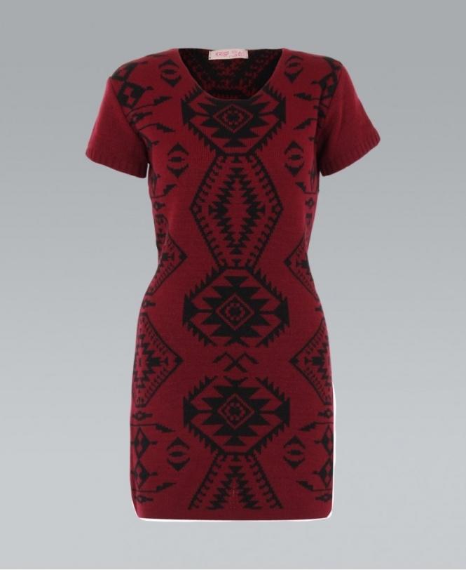 KRISP Fair Isle Print Knitted Wine Jumper Dress - WOMENS from ...