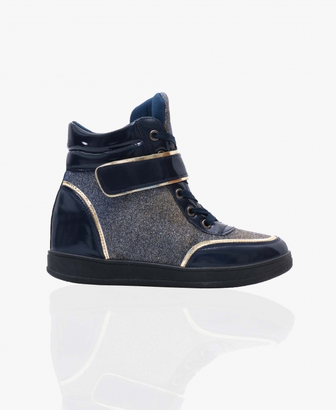KRISP Fashion Lurex Wedge Trainers