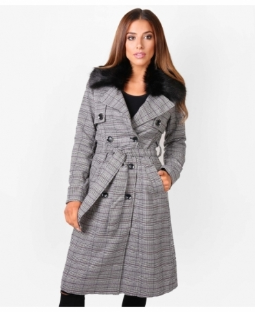 Faux Fur Double Breasted Check Coat