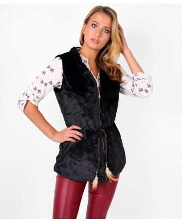 Faux Fur Long Zip Up Gillet