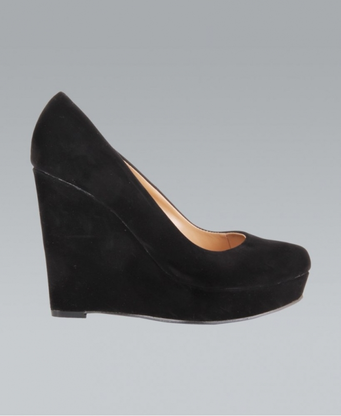 bbf580a113 KRISP Faux Suede High Heeled Black Platform Court Wedge - Shoes from ...