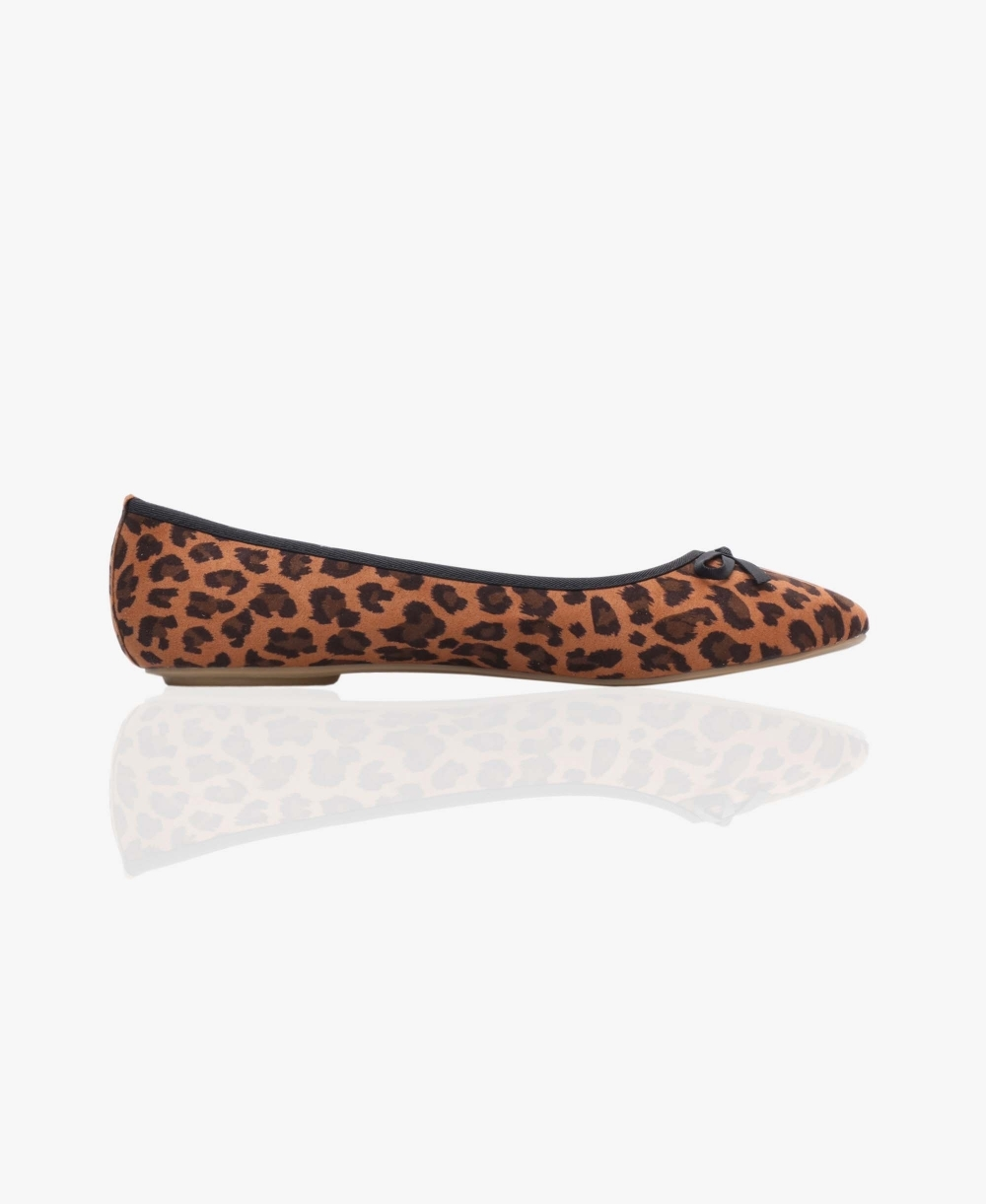 fd905b25dd6 Ballerinas | Faux Suede Leopard Ballerina Pumps | KRISP