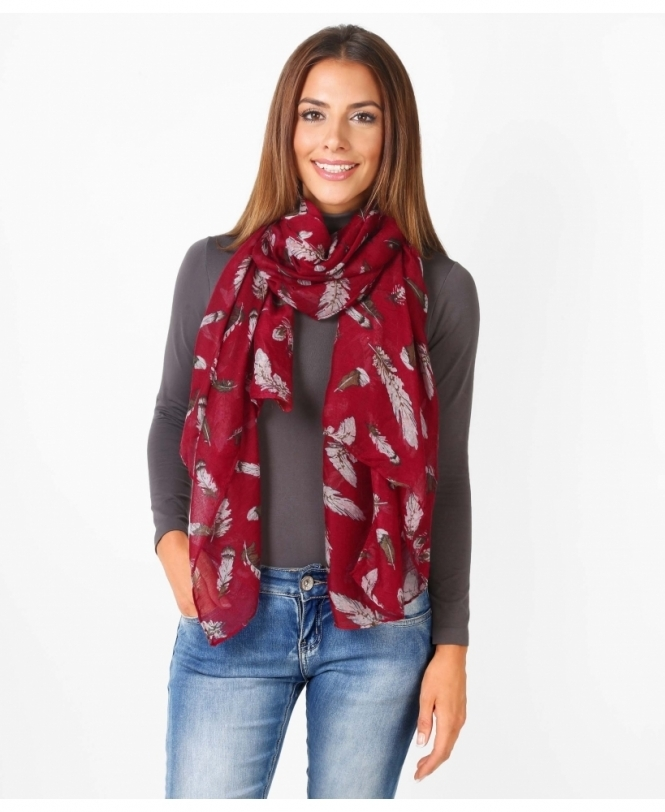 KRISP Feather Print Autumn Scarf