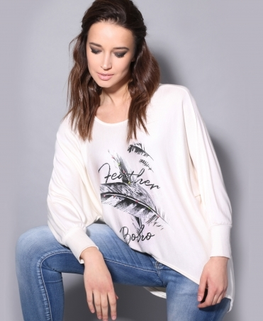 Feather Print Oversized Jumper