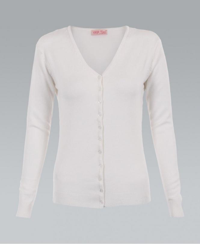2e0681a906 KRISP Fine Knit Button Up Plain Cream Cardigan - Womens from Krisp ...