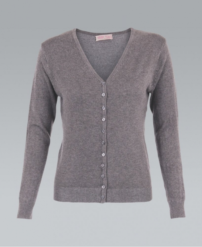 KRISP Fine Knit Button Up Plain Grey Cardigan - WOMENS from Krisp ...