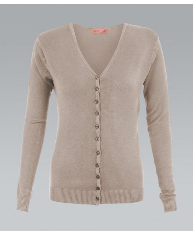 5b7ae42613 KRISP Fine Knit Button Up Plain Mocha Cardigan - Womens from Krisp ...