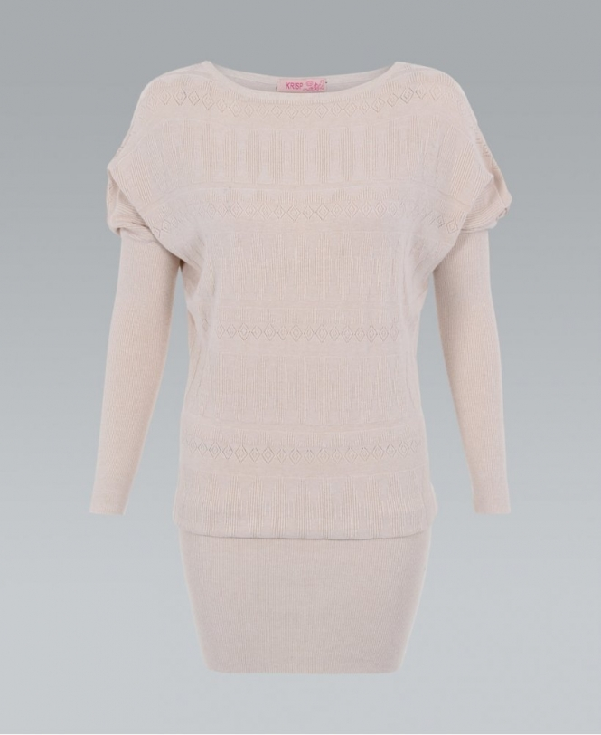 Fine Knit Pattern Front Batwing Jumper Dress