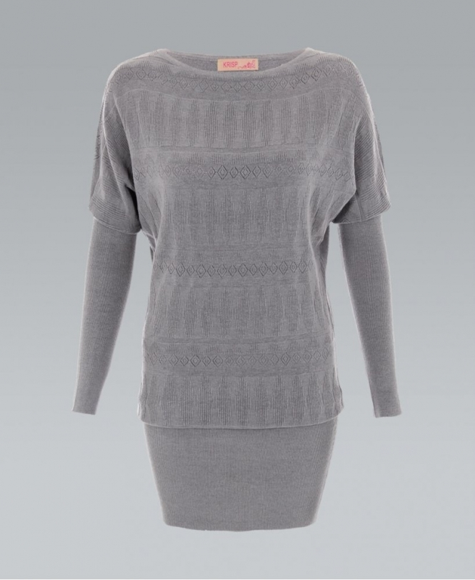 Krisp Fine Knit Pattern Front Batwing Jumper Dress Womens From