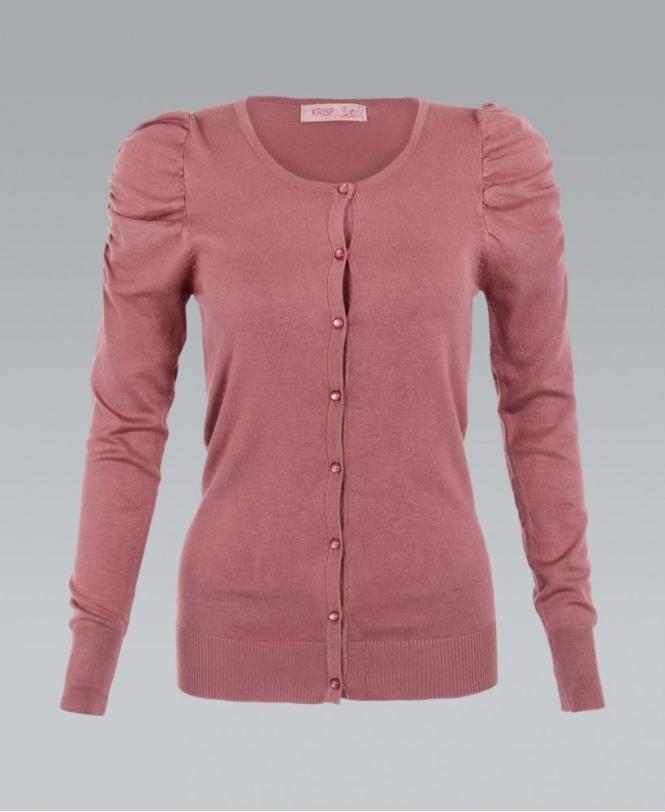 68a10c8df9 KRISP Fine Knit Puff Sleeve Dusty Pink Cardigan - Womens from Krisp ...