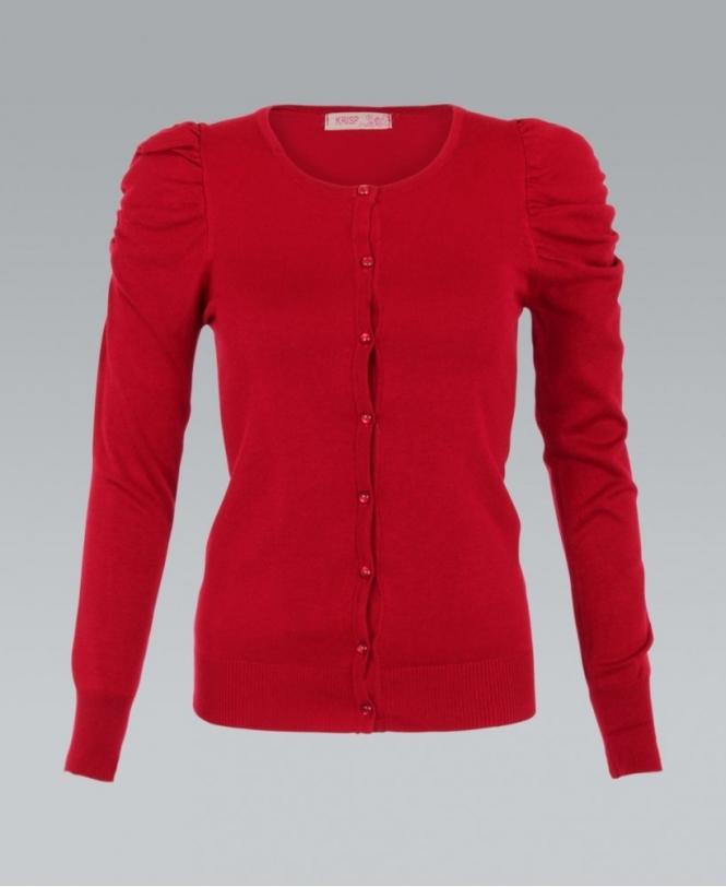 e23c49dd0b KRISP Fine Knit Puff Sleeve Red Cardigan - Womens from Krisp Clothing UK