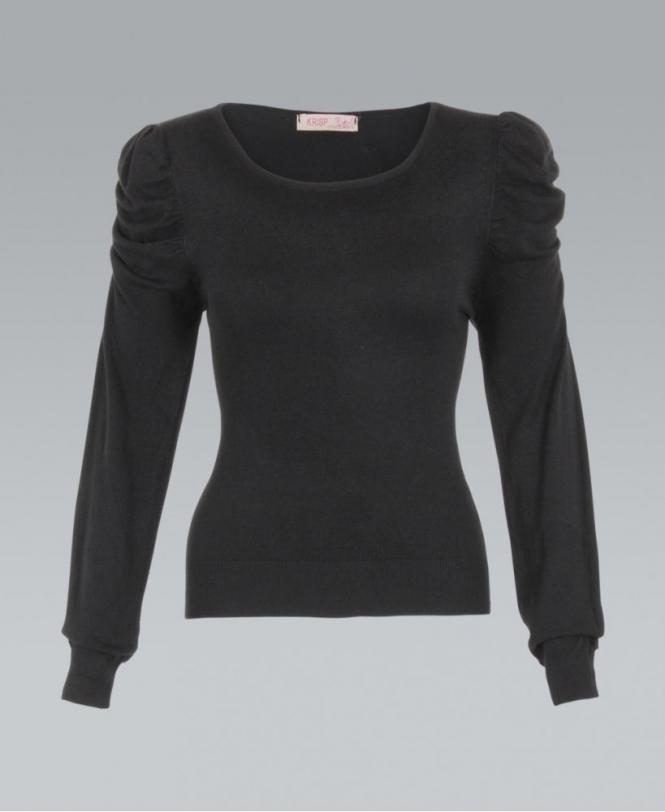 88637f9129958c KRISP Fine Knit Ruched Sleeve Black Jumper - Womens from Krisp ...