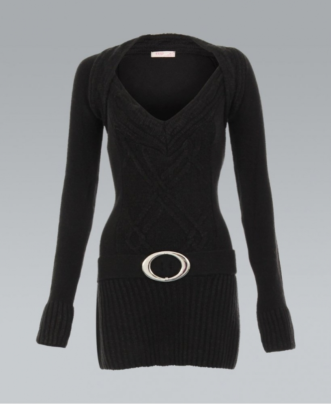 4f12ccfd141510 KRISP Fitted Belted Ribbed Knitted Black Long Jumper - Womens from ...