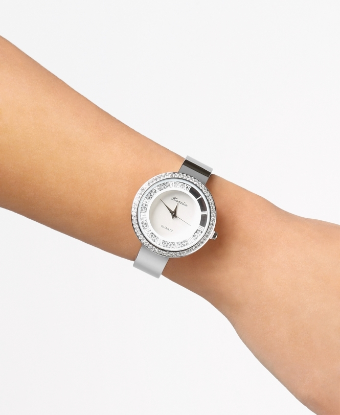 KRISP Floating Crystals Round Face Watch