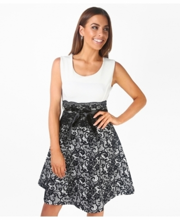 Flock Lace Print Skater Dress