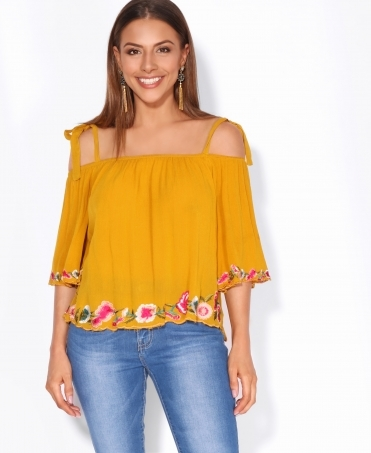 Floral Applique Bardot Gypsy Top
