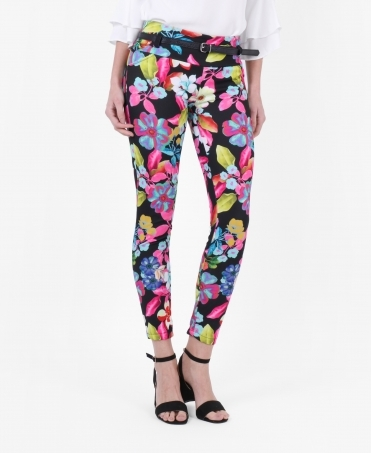 Floral Belted Pencil Trousers