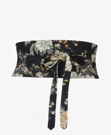 Floral Canvas Waist Obi Belt