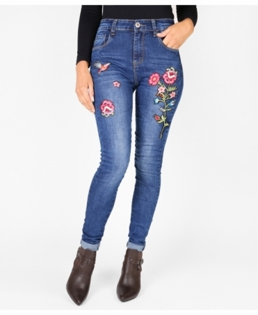 Floral Embroidered High Waist Jeans