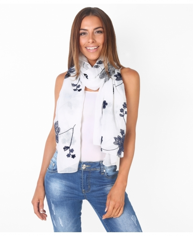 KRISP Floral Embroidered Thin Scarf