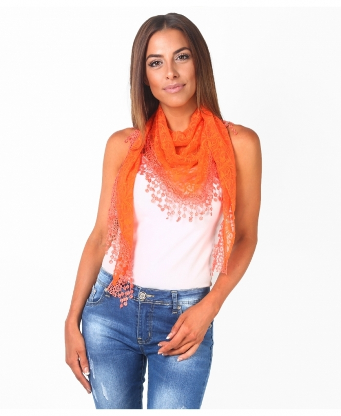 KRISP Floral Lace Triangle Scarf