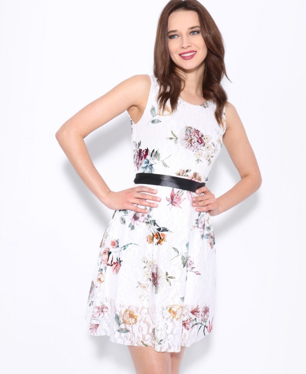 8a5be4a28a Floral Print Lace Skater Dress