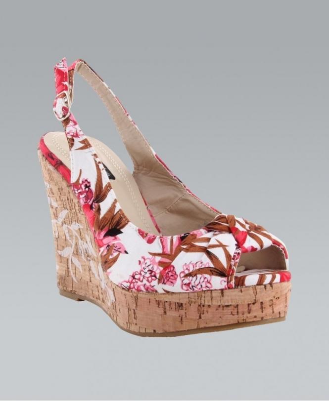 KRISP Floral Print Peep Toe Slingback