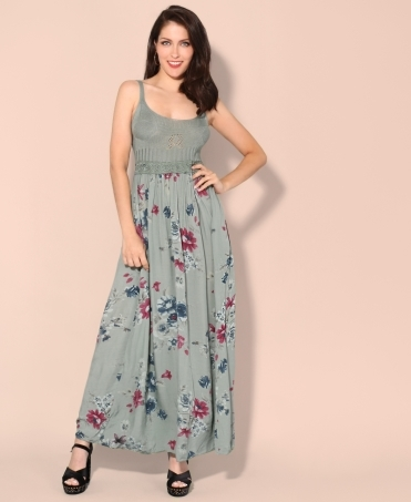 Floral Skirt Strappy Maxi Dress