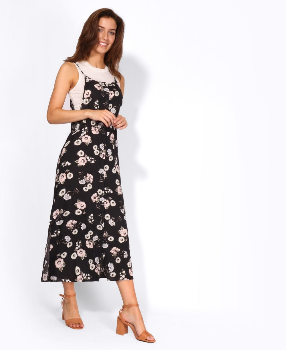 d88d160d16 Floral Slip Dress with Vest