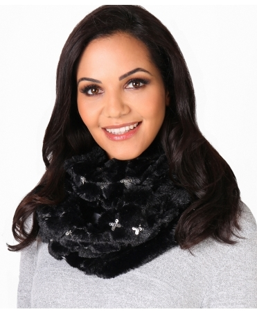 Fluffy Faux Fur & Sequin Snood