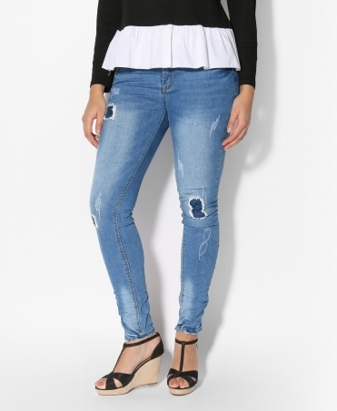 Frayed Patchwork Leg Skinny Jeans