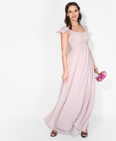 Frill Shoulder Chiffon Maxi Dress