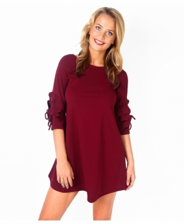 Frill Sleeve A-Line Tunic Dress