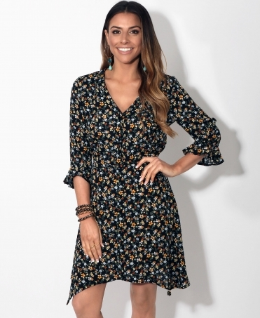 926f5630f3 Frill Sleeve Button Up Floral Dress