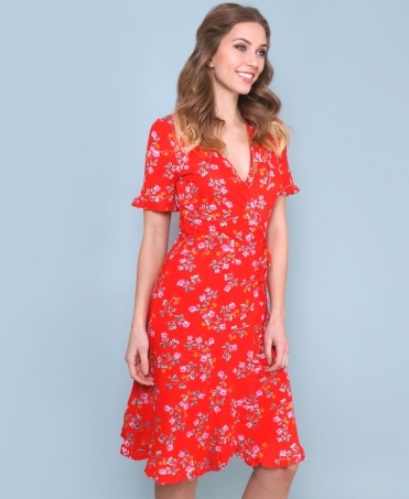 Frill Sleeve Floral Wrap Dress