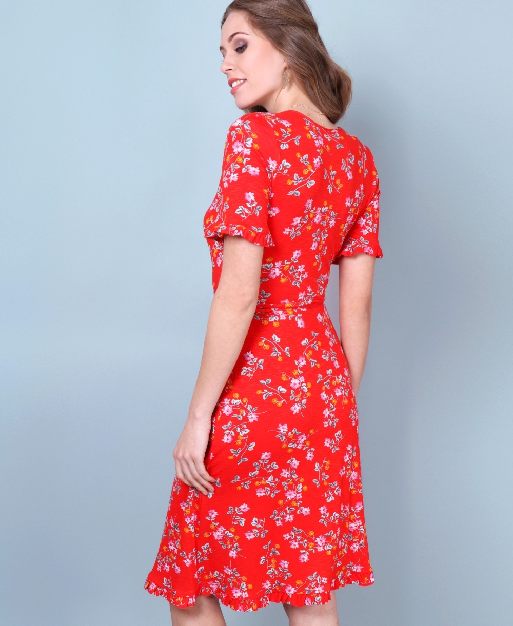 a2bb56e9ce3c35 Dresses   Frill Sleeve Floral Wrap Dress   Krisp