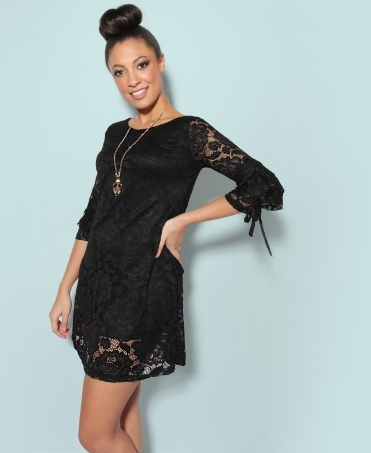 Frill Sleeve Lace A-Line Dress