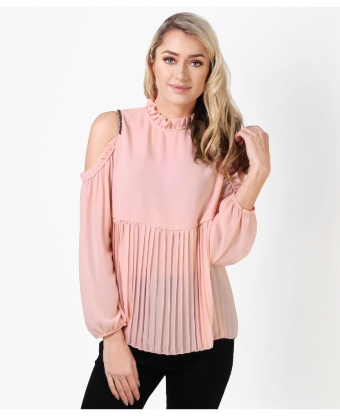 020118396b35a8 Frilled  amp  Pleated Cold Shoulder Blouse
